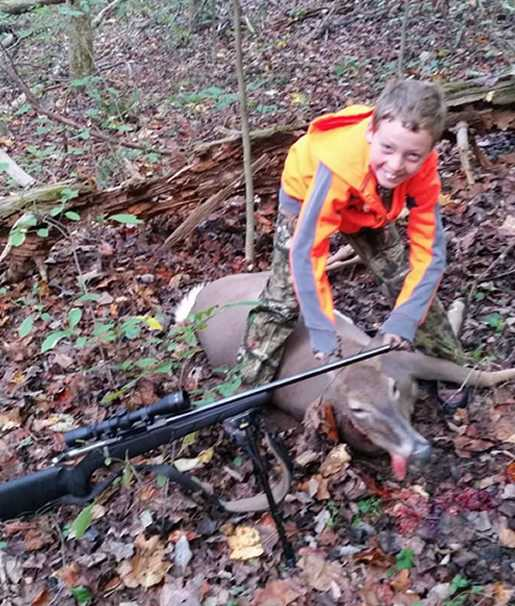 Devin shot his first deer during the WV Youth Hunt on October 15, 2016