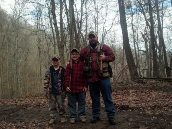 Joey Linville & sons hunting on their family farm near Danville, WV.