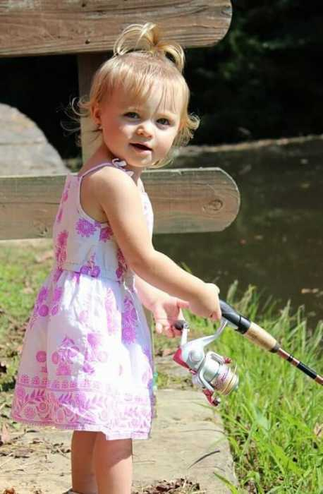 Aubree's first time fishing.