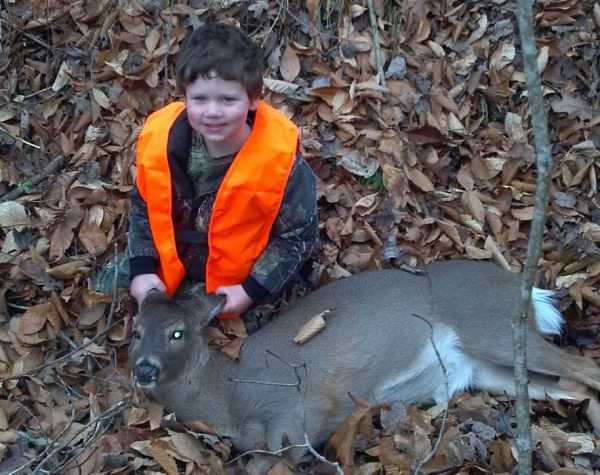 Three-year-old Gavin with his first deer.