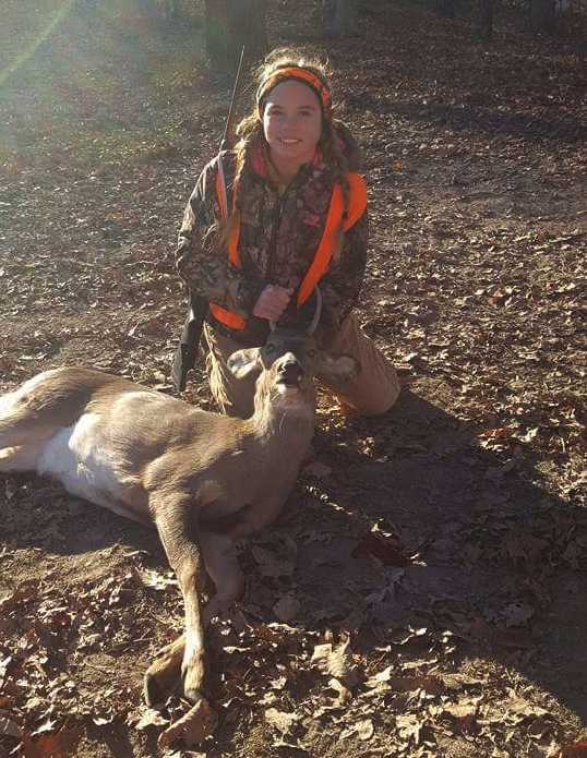 Hailey with her very first buck on Opening Day in Putnam County.