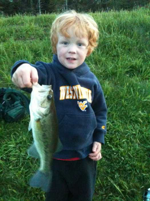 Liam, age 3, from Sissonville, WV with his first largemouth. He cast, hooked and landed solo.
