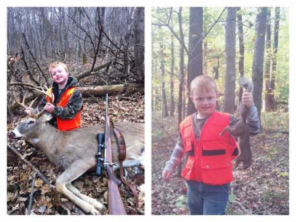 Landon Casto, 6 years old, from Jackson County, started hunting this year. He harvested his first squirrel, doe and buck (9 pt).