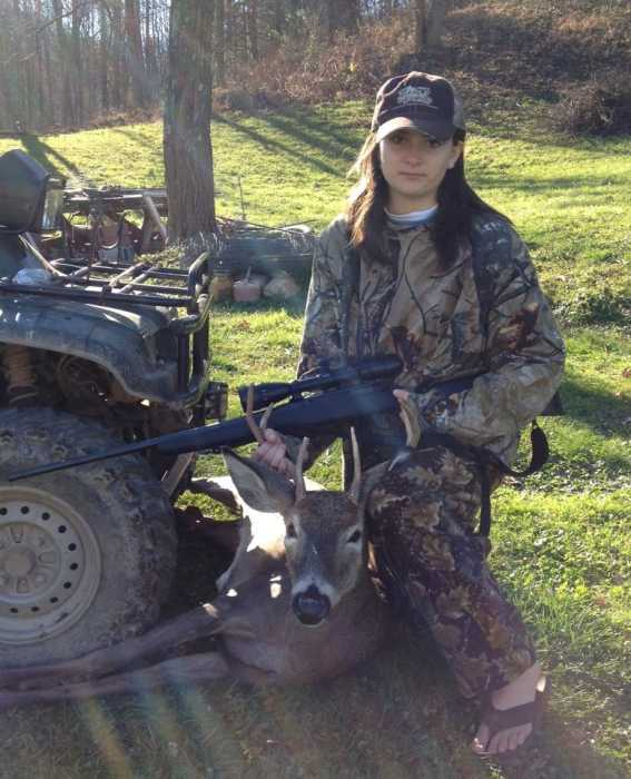 Katie Wine's 6-point buck from Braxton County, WV. Nice Hat too!